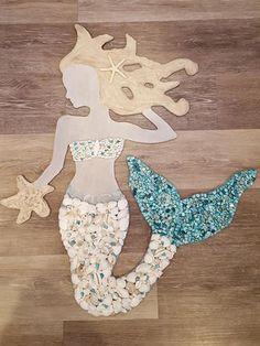 Mermaid Home Decor, Mermaid Wall Art, Mermaid Crafts, Mermaid Room, Mermaid Beach, Mermaid Diy, Mermaid Bathroom, Mermaid Shell, Sea Glass Crafts