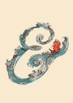 Ampersand Boat by Francisco Martins. This would be a great tattoo.