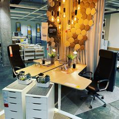 After last year having a home office is now essential in any home! See this display by @ikea_australia featuring BEKANT corner desks, ALEX drawer unit, and MARKUS office chairs