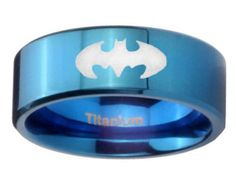 Blue IP Titanium Batman Pipe Cut Engraved Ring  ( 6MM, 8MM ) Size 4 to 13