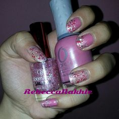 """I've added some gradient glitter to my previous mani. Gradient Pink Glittery Nails using Orly in """"Elsebeth's Rose"""" and Golden Rose-Galaxy #2525"""