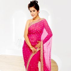 Pink Faux Chiffon Saree with Blouse <3 <3 <3