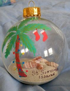Palm tree ornament with sand and shells from St. Simons Island, GA