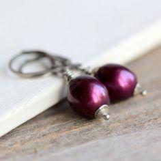 June Birthstone Pearl Earrings on Sterling Silver by JarosDesigns