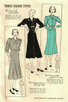 Butterick 7532, 7540 and 7525 in Butterick Fashion News, September 1937