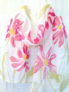 White Silk Scarf Handpainted Small Silk Scarf by SilkScarvesTakuyo