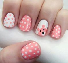 Little girls nail art - pink bear