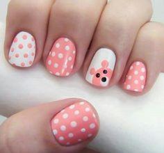 Little girls nail art - pink bear