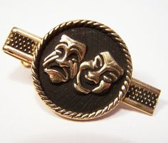 Vintage Mens Tie Clasp Clip Theatrical Mask by GretelsTreasures