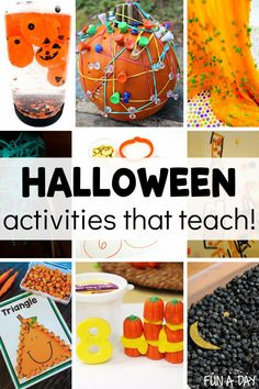 Halloween activities for preschoolers that are more than just cute and fun - they teach! Check out these fun Halloween-themed activities that teach literacy skills, math, sensory exploration, creativity, and more! Halloween Science, Halloween Activities For Kids, Halloween Themes, Halloween Fun, Preschool Lesson Plans, Preschool Themes, Enchanted Learning, Early Learning Activities, Literacy Skills