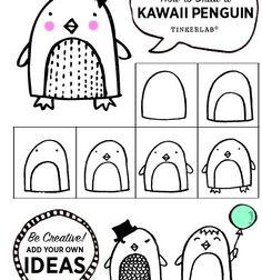 How to Draw a Kawaii Penguin - Printable - TinkerLab