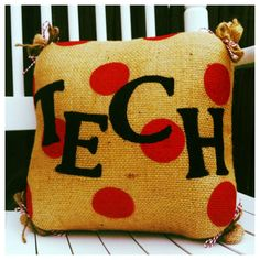 Porch pillows for Spring/Summer, or a fun graduation gift!     READY TO SHIP Texas Tech Burlap Pillow by SouthernFCreations, $35.00