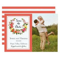 #personalize - #Floral Wreath - Save The Date Card