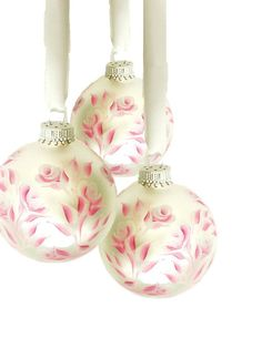 Pearl Roses - Hand Painted Ornaments Christmas Set of 3 by HandPaintedPetals, $32.00 #handpaintedpetals www.handpaintedpetals.etsy.com