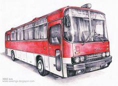 Bus Art, Future Transportation, Bus Coach, Busses, Automotive Art, Public Transport, Trucks, History, Drawings