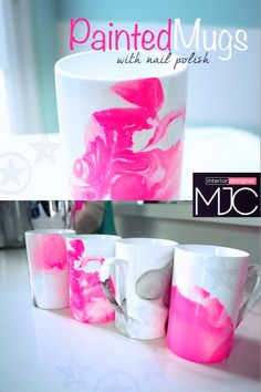 Painted Mugs....decor you own cups with nail polish, amazing ideas for wonderful gifts.