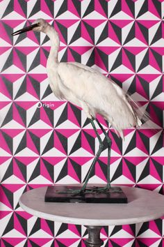 Striking graphic pink, black and white wallpaper | collection Wunderkammer | Origin luxury wallcoverings