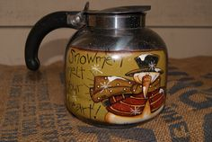 Hand Painted Country Snowman Coffee Pot by Ramshackles on Etsy, $17.95