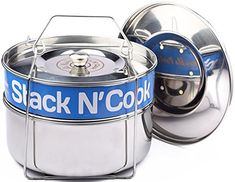 Amazon.com: Stack N' Cook Stackable Steamer Insert Pans with Sling - Instant Pot Accessories for 6, 8 Qt - Stainless Steel Food Steamer for Pressure Cooker & Pot in Pot Accessories - with Two Interchangeable Lids: Kitchen & Dining