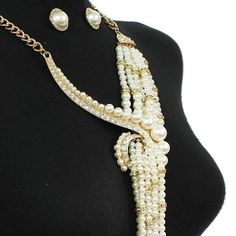 Regal Ivory Swirled Knot of Pearls Necklace Set Elegant Jewelry