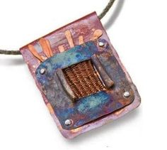 heat patina copper wire weaving pendant by Mary Hettmansperger  - Wire Jewelry Making: Explore Basket Weaving Techniques with Wire Jewelry Artists - Jewelry Making Daily