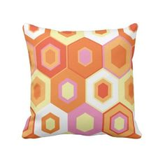 Vintage 1960s Orange Yellow Red Retro Pillow ($35) ❤ liked on Polyvore featuring home, home decor, throw pillows, orange accent pillows, yellow home decor, yellow toss pillows, yellow accent pillows and red toss pillows