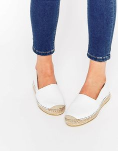 Image 1 of Selected Femme Marley White Leather Espadrille Flat Shoes