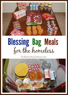 Create Blessing Bag Meals to have on hand in your car or donate to a homeless shelter to reach out to those in need. Homeless Bags, Homeless Care Package, Homeless Shelters, Homeless People, Homeless Donation, Church Outreach, Just In Case, Just For You, Community Service Projects