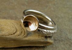 Modern Wedding Band Set in Sterling Silver & 14k Gold Engagement Ring Romantic Wedding Ring Yellow Gold Solid 14kt Mixed Metal Wedding Rings