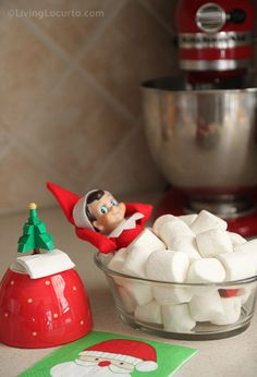 Elf Marshmallow Bath by Living Locurto and other great Elf on the Shelf ideas