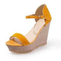 BeanFashion Womens Open Peep Toe High Heel Wedge Platform Frosted Cow Leather Solid Sandals with Buckle, Yellow, 4.5 B(M) US BeanFashion http://www.amazon.com/dp/B00L3VZFXC/ref=cm_sw_r_pi_dp_vd7nvb1TDS0EA