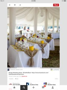 Burlap tied table runners. No tablecloths. Like the angled rectangle tables.