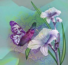 disenos-cuadros-mariposa-con-flores