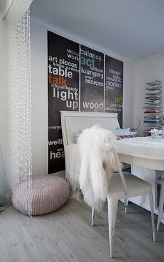 Use stencils to paint words on a chalkboard painted wall *craft room idea*