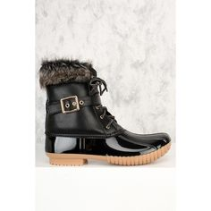 Black Faux Fur Detailing Front Lace Up Round Closed Toe Rain Boots (92 BAM) ❤ liked on Polyvore featuring shoes, boots, black winter boots, black thigh-high boots, black suede over the knee boots, over-the-knee suede boots and suede thigh-high boots
