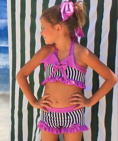 Look what I found on #zulily! Muddy Feet Boutique Magenta & Black Stripe Bathing Beauty Bikini - Infant by Muddy Feet Boutique #zulilyfinds
