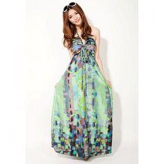 Bohemian Halterneck Sleeveless Ruffles Floral Printed Slimming Dacron Dress For Women