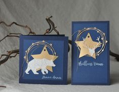 simply graphic: bleu nuit et or Card Tags, Gift Tags, Memory Box Cards, Homemade Christmas Cards, Christmas Star, Xmas, Winter Cards, Paper Cards, Christmas Inspiration