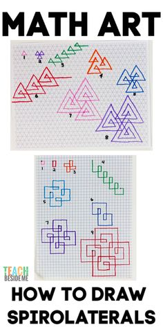 If you are looking for a cool way to integrate math and art, try drawing spirolaterals. They make a beautiful geometric design and are simple to draw! Creative Teaching, Teaching Art, Math Activities For Kids, Steam Activities, Math Projects, Art Education Projects, Math Crafts, Math Art, Homeschool Math