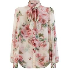 Fashioned from luxurious silk, this sheer blouse from Dolce & Gabbana features a delicate floral print and a smart pussybow neck tie. Tiny frilled edges line …