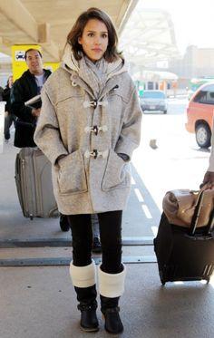 Jessica Alba wearing Koolaburra Liv Boot, Jimmy Choo Rosabel Grainy Calf Large Top Handle Bag and Carven Duffle Coat with Hood.
