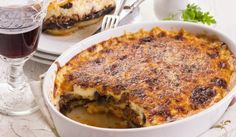 A drool-worthy dish, our Grilled Vegetarian Moussaka Recipe With Soy Granules is a layered baked dish that includes layers of roasted zucchini and eggplant slices, a lip smacking tomato basil sauce and a rich bechamel sauce, baked with a layer of cheese. Casserole Dishes, Casserole Recipes, Moussaka Recipe, Ground Beef Casserole, Greek Dishes, Main Dishes, Ground Beef Recipes, Greek Recipes, Easy Meals