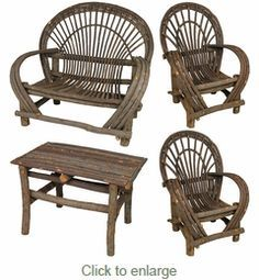 This rustic bent twig furniture set is perfect for any cabin or lodge porch, patio or yard. Our Mexican bent willow furniture with bark is durable and functional as outdoor furniture. Italian Bedroom Furniture, Royal Furniture, Cottage Furniture, Bar Furniture, Handmade Furniture, Pallet Furniture, Furniture Plans, Rustic Furniture, Luxury Furniture