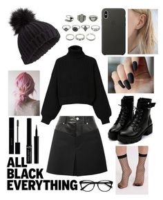 """b l a c k"" by kjewelstar ❤ liked on Polyvore featuring EyeBuyDirect.com, Helmut Lang, Miss Selfridge, Diesel, Gucci, Giorgio Armani, Pilot, Apple and allblackoutfit"