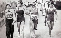 The fashion from the continent arrives in Britain in 1930.  Beach pyjamas were very popular with the fashionable ladies of the 30s. Worn with bare backs, the beach suit had the arms revealed and long flared legs- the start of elegant leisure wear. Designers found new freedom with the coming of synthetic materials that flowed around the body.