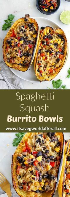 Recipes Vegetarian Spaghetti Squash Burrito Bowls - a simple, flavorful, and healthy spaghetti squash recipe. This vegetarian dish makes a great weeknight meal. It's naturally gluten free and can easily be made vegan. Vegetarian Spaghetti Squash Recipes, Vegan Spaghetti Squash, Vegan Squash Recipes, Taco Spaghetti, Spagetti Squash Spagetti, Mexican Spaghetti, Veggie Recipes, Whole Food Recipes, Cooking Recipes