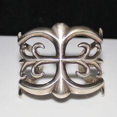 Vintage Pawn Navajo Sand Cast Sterling Silver Cuff Bracelet 99.5 Grams Tufa Cast