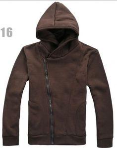 Men Korean Style Slant Zipper Long Sleeve with Hood Coffee Cotton Hoodie M/L/XL@S0-51-1co