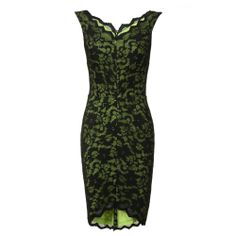 Lucy Mecklenburgh's Hybrid Napoli Bright Neon Lime Green & Black Contrast All Over Floral Lace Sleeveless V-Neck Bodycon Pencil Dress