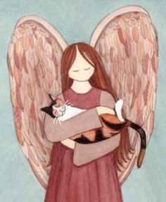 Calico cat cradled by angel / Lynch signed folk art print I Love Cats, Cool Cats, Gato Angel, Gato Calico, Animal Line Drawings, Pet Sympathy Cards, Pet Cemetery, Kinds Of Cats, Cat Posters